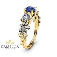 Special Reserved - Blue Natural Sapphire Three Stone Branch Ring