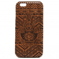 Hamsa Pattern Wooden iPhone Case - Arabic iPhone Case, Hamsa iPhone cover - All Wood Everything
