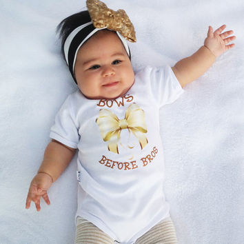 Bow Baby Bodysuit - Bows Before Bros Baby Girl Romper.  Baby Shower Gift. Cute Baby Girl Clothes. Long or Short Sleeve.