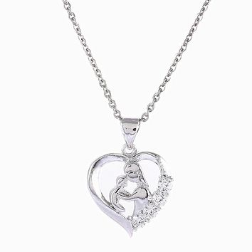 Fyla Mode Mother Baby Heart Charm Pendant Necklaces Mom Daughter Son Family Love Micro Pave Zircon Copper Necklace For Birthday