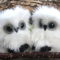 Snowy Owl furry little friend (1) eco friendly stuffed animal snow white faux fur felt friend toy (woolcrazy)