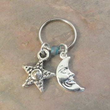 Celestial Moon and Star Beaded Cartilage Hoop Earring - You Choose Colors