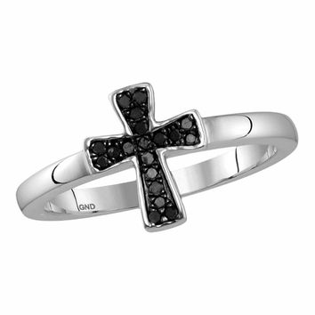 Sterling Silver Womens Round Black Color Enhanced Diamond Flared Cross Ring 1/10 Cttw