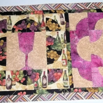 Table runner with wine motif