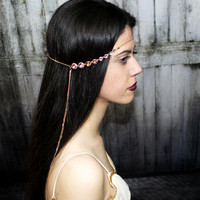 Hair Chain Hair Jewelry, Pink Hair Accessory, Gypsy Head Piece, Bridesmaid Jewelry, Valentines Day Jewelry