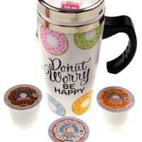 Donut Worry Be Happy Coffee Travel Mug 16 oz Stainless White Donut Shop Kcup Set