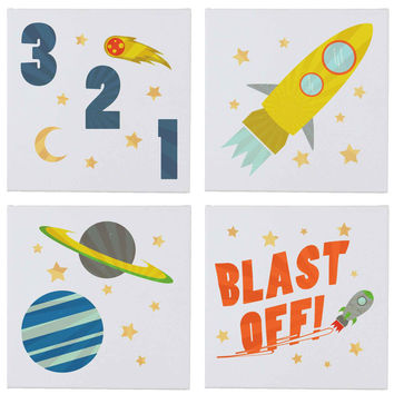 Rocketship Outer SpaceWall Canvases - Set of 4
