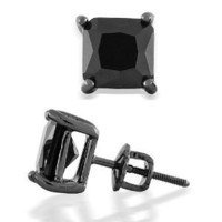 Bling Jewelry Black Simulated Onyx CZ Square 925 Sterling Silver Screw Back Post Studs 9mm