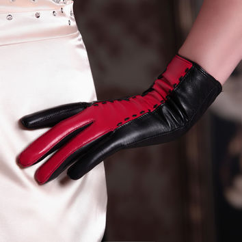 High Quality Fashion Women Gloves Female Genuine Leather Gloves Short Design Black and Red Autumn Winter Warm Gloves