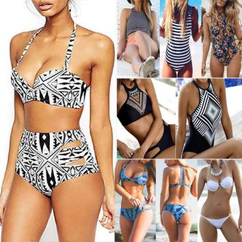 US Womens High Waisted Bandage Swimwear Swimsuit Monokini Push Up Bra Bikini Set