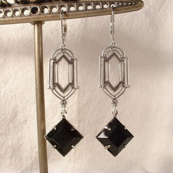 Vintage Art Deco Jet Black Crystal Rhinestone Antiqued Silver Dangle Earrings Flapper Gatsby Downton Abbey Long Bridal Bridesmaids 1920s