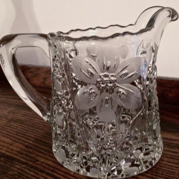 Small pitcher pressed glass with etched flowers vintage