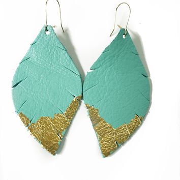 Three Little Indians Earrings - Small Aqua | Gold Leaf