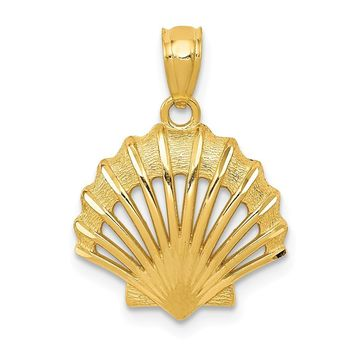 14k Yellow Gold Satin and Polished Fan Shell Pendant