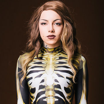 Designer Skeleton Costume / Fully Secured / Realistic Bones / Halloween Clothing / Cosplay Outfit / lack Catsuit /Top Quality Fabric