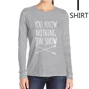"""Gray and White """"You Know Nothing Jon Snow"""" Women's long sleeve T shirts"""