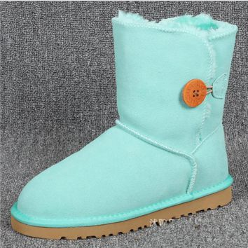 """UGG"" Women Fashion Wool Snow Boots Calfskin Shoes A Button shoes fresh Lake green"