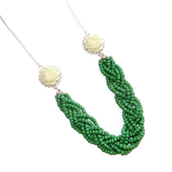 Green Beaded Necklace with Cream Flowers