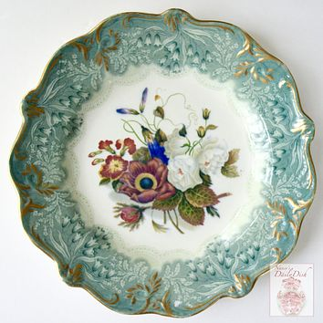 RARE Antique Teal Transferware Plate Country French Botanical Floral Bouquet Peonies Cornflower Phlox Hand Painted #2