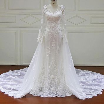 Wedding dress Full Sleeve Sweetheart Royal Train Appliques and lace Illusion