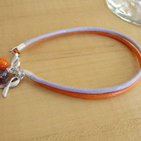 Orchid and Orange Awareness Cotton Bracelet / Anklet - Psoriasis, Eczema