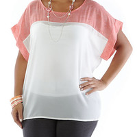 Plus-Size Lightweight Top with Contrast and Necklace - Rainbow