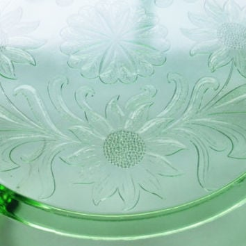 Vintage 1930's Jeannette Glass Green Footed Cake Plate Sunflower Pattern, Green Depression Glass Serving Plate, 3 Footed Plate Cake Plate