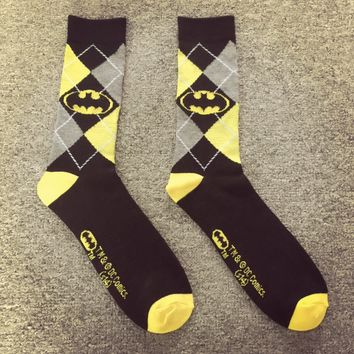 Free shipping batman crew socks for women man, fashion comic character diamond pattern,  hip hop  black yellow harajuku korean