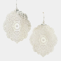 Floral Filigree Dangle Earring - Rhodium