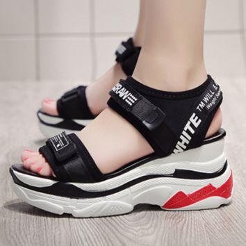 OFF-WHITE 2018 summer new wild muffin thick bottom increased casual sandals F0501-1 Black
