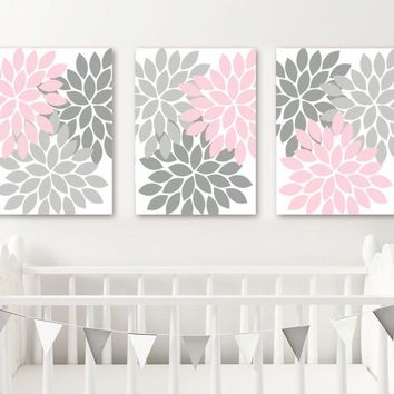 Pink Gray Nursery Wall Art, CANVAS or Prints Pink Gray Bedroom Wall Decor, Pink Gray Bathroom Decor, Flower Bursts Set of 3 Home Decor