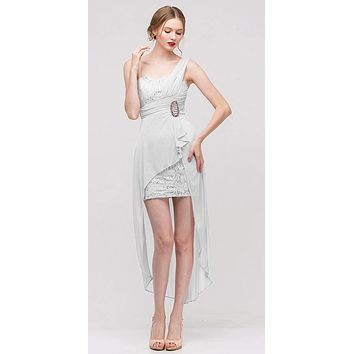 Spaghetti Strapped Short Chiffon White Sheath Semi Formal Dress