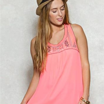 Embroidered Strap Back Tank