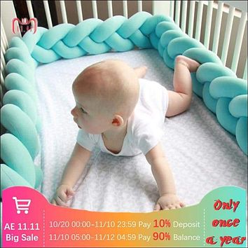 Long Knotted Braided Pillow Crib Bumper 🚼
