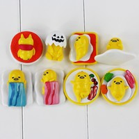 8Pcs/Lot  Anime Lazy Egg Gudetama Brothers Ornaments Gifts Mini PVC Figures Keychains Toys For Collections