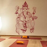 Ik445 Wall Decal Sticker Room Decor Wall Art Mural Indian God Om Elephant Hindu Success Buddha India Ganesha Ganesh Hindu Welfare Bedroom Meditation Yoga
