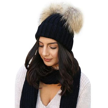 Fashion Winter Warm Chunky Knit Beanie Hat Women's Double Fur Pom Pom Beanie Cap Faux Fur Hats Girl Wool Bobble Bonnet Gorros