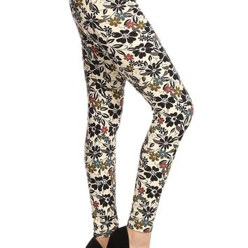 Women's Daisy Leggings Flowers and Vines Ivory/Pink/Blue: OS/PLUS