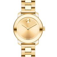 Women's Movado 'Bold' Round Bracelet Watch, 25mm - Gold
