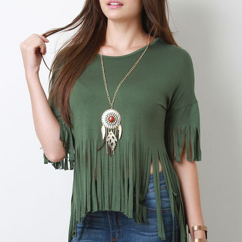 Boho Necklace Fringe Cut High Low Short Sleeves Tee