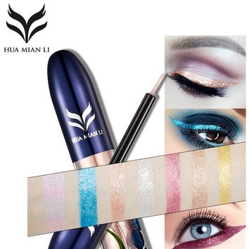 HUAMIANLI Brand 7 Color Glitter Liquid Eyeliner Makeup Waterproof Shimmer Metallic Silver Gold Eye Liner Shiny Eyes Pen Cosmetic