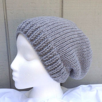 Grey slouchy hat - Womens wool hats - Teens slouchy beanie - Womens grey beanie
