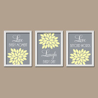 Yellow Gray Custom Live Laugh Love Colors Flower Burst Petals Artwork Set of 3 Trio Prints Decor Bedroom WALL ART Bathroom Nursery Baby Crib