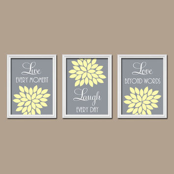 yellow gray custom live laugh love colors flower burst petals artwork set of 3 trio prints