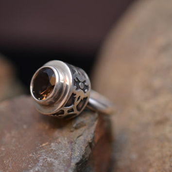 Signed Sterling Silver and Smoky Quartz Ring