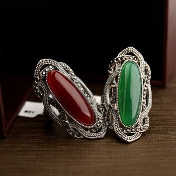 Real Austrian Crystals Classic Vintage pattern agate Antique Silver Plated Fashion Rings For women Top Sale New 10355
