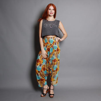 80s High Waist HAREM PANTS / Ethnic Draped Floral Crop Trousers, xs-s
