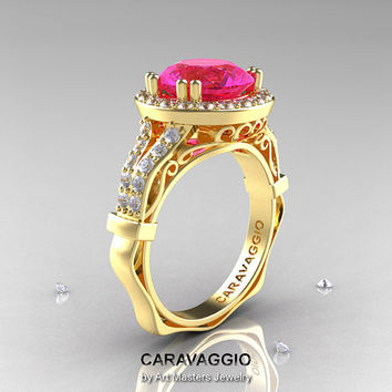 Caravaggio 14K Yellow Gold 3.0 Ct Pink Sapphire Diamond Engagement Ring, Wedding Ring R620-14KYGDPS