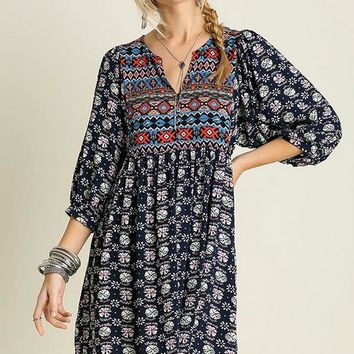 Navy Bohemian Embroidered Dress