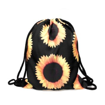 Drawstring Backpack in sunflower pattern in yellow black color for cheap drawstring
